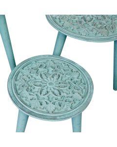 Kairouan Set mit 3 runden Beistelltischen Blau-Grün