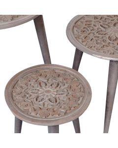 Kairouan Set mit 3 runden Beistelltischen Braun