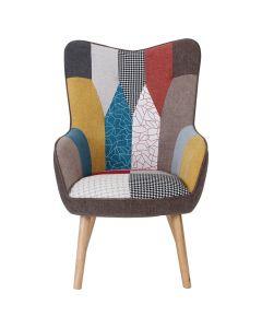 Klarys Skandinavischer Sessel mit Stoffbezug Patchwork