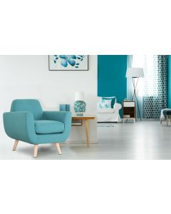 Danube Skandinavischer Sessel mit Stoffbezug Blau Gr+n