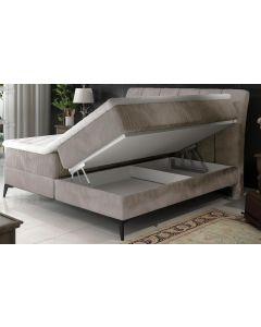 Aderito Bett mit Stauraum, Samtbezug Beige-Grau 140cm