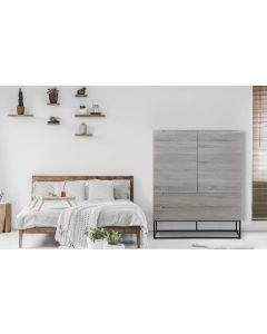 Logam Hohes Sideboard mit 2 Türen und 2 Schubladen Helle Eiche