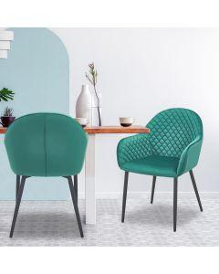 Erika Set mit 2 Stühlen mit Samtbezug Grün