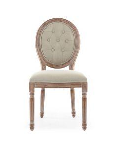 Louis XVI Set mit 2 Medaillon Stühlen, Patiniertes Holz & Gepolsterter Stoffbezug Beige