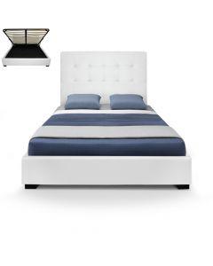 Structure de lit avec sommier et espace de rangement 140cm Trevene blanc