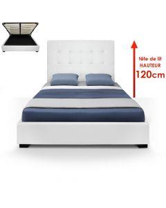 Trevene Bett mit Stauraum + Lattenrost 140cm Weiß