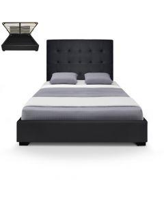 Structure de lit avec sommier et espace de rangement 140cm Trevene noir