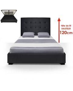 Trevene Bett mit Stauraum + Lattenrost 140cm Schwarz