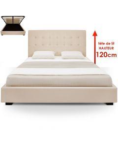 Trevene Bett mit Stauraum + Lattenrost 180cm Beige