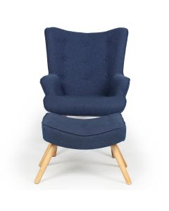 Lylou Skandinavischer Sessel + Hocker, Stoffbezug Blau