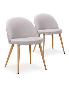 Lot de 2 chaises scandinaves Maury tissu Gris Clair