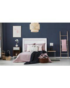 Meghan Kopfteil Bett 160cm mit Kunstlederbezug Weiß
