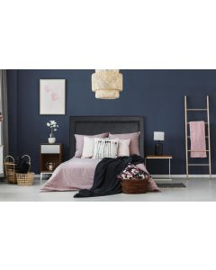 Meghan Kopfteil Bett 160cm mit Kunstlederbezug Schwarz