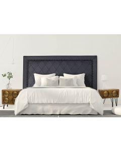 Meghan Kopfteil Bett 180cm mit Kunstlederbezug Schwarz