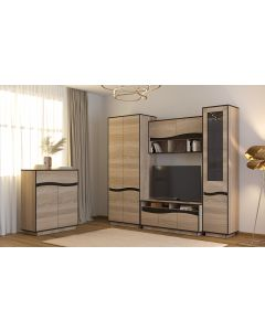 Genevaro TV-Schrank 120cm mit 3 Schubladen Eiche hell
