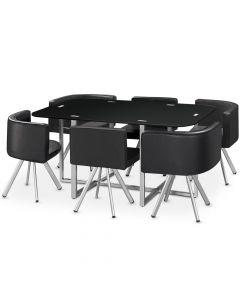 Table rectangulaire pratique gain de place Mosaic XL verre noir
