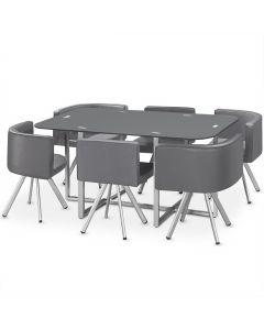 Table rectangulaire pratique avec 6 chaises gain de place Mosaic XL verre Gris