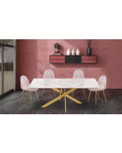 Naelle Esstisch  mit goldenen Tischbeinen und Glasplatte mit Marmoreffekt