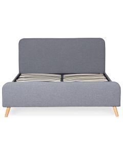 Nebula Skandinavisches Bett mit Kopfteil und Lattenrost 160 x 200 cm mit Stoffbezug Grau