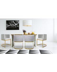 Noellie Stuhl / Sessel mit goldenen Stuhlbeinen und Samtbezug, Silber