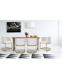 Noellie Stuhl / Sessel mit goldenen Stuhlbeinen und Samtbezug, Weiß