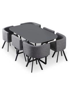 Table et chaises Oslo XL Gris et Tissu Gris