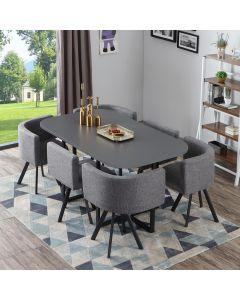 Oslo XL Tischgruppe im skandinavischen Stil Grau
