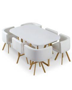 Table et chaises Oslo XL Blanc et Simili Blanc