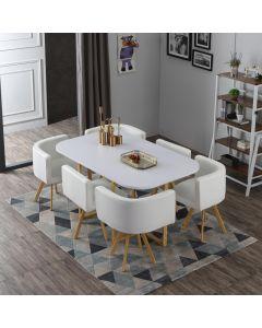Oslo XL Tischgruppe im skandinavischen Stil Weiß