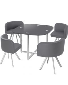 Ensemble table + chaises Mosaic 90 Gris