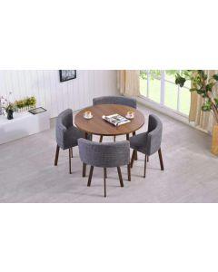 Riga Tischgruppe mit rundem Tisch und vier Stühlen, Dunkle Eiche und Grauer Stoff