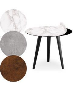 Blickfang Runder, magnetischer Beistelltisch aus schwarzem Metall 45 cm mit 3 Tischsets Textures Stil