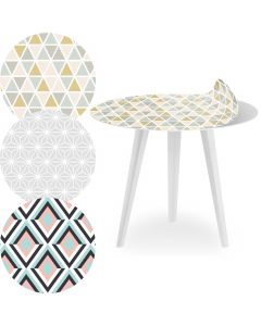 Blickfang Runder, magnetischer Beistelltisch aus weißem Metall 45 cm mit 3 Tischsets im skandinavischen Stil