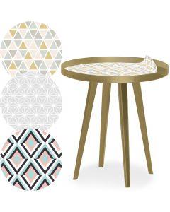 Blickfang Runder, magnetischer Beistelltisch mit Rand aus goldenem Metall 45 cm mit 3 Tischsets im skandinavischen Stil