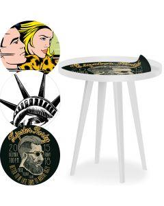 Blickfang Runder, magnetischer Beistelltisch mit Rand aus Metall 45 cm mit 3 Tischsets Fun