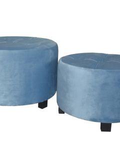 Rondeo Set mit 3 Polsterhockern, Samtbezug Blau