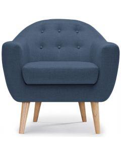 Savoy Skandinavischer Sessel mit Stoffbezug Blau