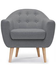 Savoy Skandinavischer Sessel mit Stoffbezug Grau