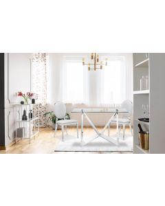 Sofia Set mit 2 Medaillon Stühlen mit Kunstlederbezug, Weiß