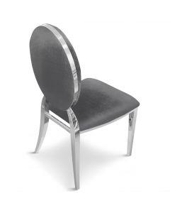 Sofia Set mit 2 Medaillon Stühlen mit Samtbezug, Grau