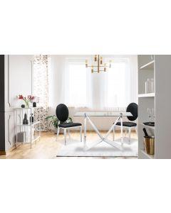 Sofia Set mit 2 Medaillon Stühlen mit Kunstlederbezug, Schwarz