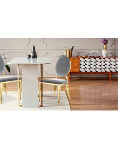 Sofia Set mit 2 Medaillon Stühlen mit Samtbezug Silber
