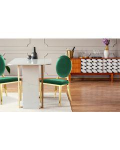 Sofia Set mit 2 Medaillon Stühlen mit Samtbezug Grün