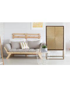 Solaris Hohes Sideboard aus Holz mit 2 goldenen Türen