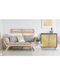 Solaris Sideboard aus Holz mit 2 goldenen Türen