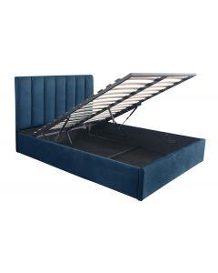 Songe Bett mit Stauraum + Lattenrost, Samtbezug Blau 140cm