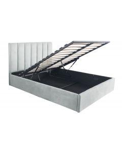 Songe Bett mit Stauraum + Lattenrost, Samtbezug Silber 140cm