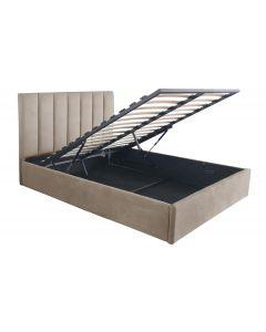 Songe Bett mit Stauraum + Lattenrost, Samtbezug Taupe 140cm