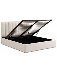 Songe Bett mit Stauraum + Lattenrost, Stoffbezug Beige 160cm