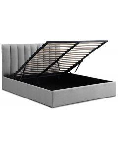 Songe Bett mit Stauraum + Lattenrost, Stoffbezug Grau 160cm
